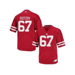 Jon Dietzen Wisconsin Badgers Men's Authentic adidas Football Jersey  -  Red